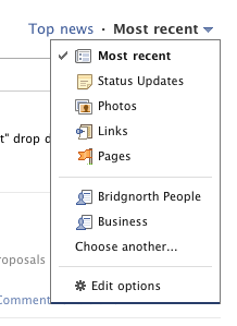 "Updated Newsfeed ""Most recent"" drop down options"