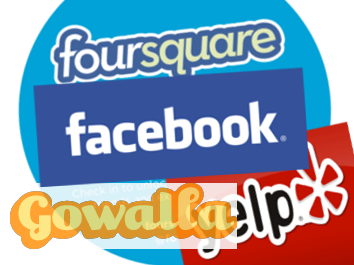 Facebook, foursquare, Yelp, Gowalla social media checkin sites